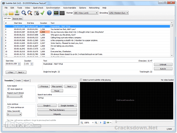 Subtitle Edit Crack v3.6.0 + Serial Key [ Latest Version ]